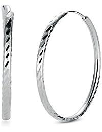 e9def11ca75 T400 Jewelers Boucles d oreilles Créoles en Argent Sterling 925 Bijoux pour  Femmes Grand Cerceau