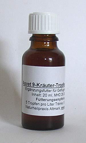 Asvet 20ml 9-Kräuter-Tropfen Spezial für Hühner, Wachteln, Hasen, Kaninchen, für 100 Liter Tränke, keine chemische Wurmkur