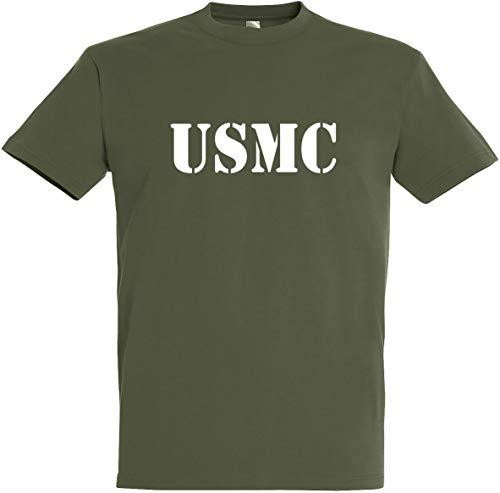 Herren T-Shirt USMC S bis 5XL (XL, Olive) -