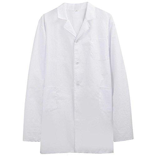 Yahee Laborkittel Arbeitskittel Damen Herren Medizin mit Knöpfe weiß (XL)
