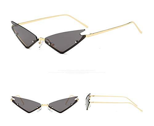 WSKPE Sonnenbrille,Die Kleine Katze Auge Sonnenbrille Frauen Brillen Weiblichen Metall Dreieck Gläser Farben Uv400 Gold Frame Streuscheibe,Schwarz