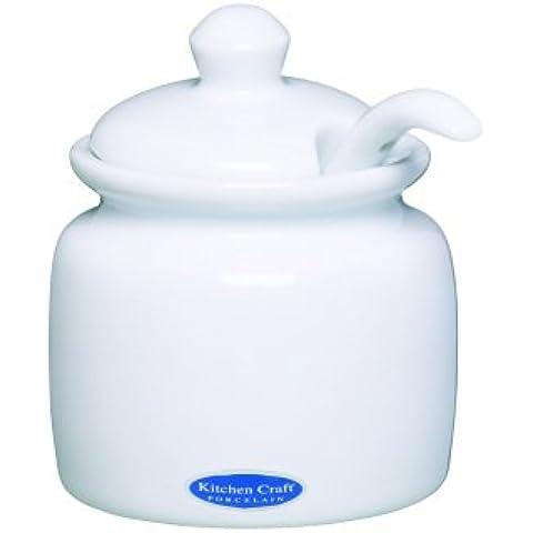 Kitchen Craft - Bote para la mostaza (porcelana, incluye cuchara), color blanco