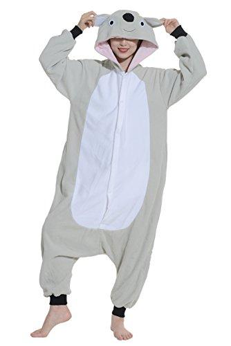 ts Overall Pyjama Onesie Fleece Erwachsene Tier Koala Kostüme Grau - M (Freundin Und Freund Halloween-kostüme)