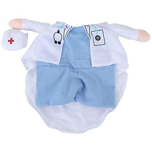 Hunde Kleine Doktor Kostüm - Famus Polyester Cute Pet Halloween Kleidung Arzt Polizei aufrecht Kostüm Dress Up für Katzen Hunde(XL-Blau + Weiß)