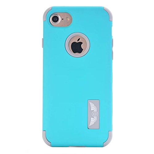 iPhone 7 Hülle,Lantier mattiert Matt Finish Design Angel Eyes Serie Durable 3 in 1 kombiniert Dual Layer Hybrid schlanke schockfesten Defender Cover für Apple iPhone 7 4,7 Zoll Rosen Gold+Rosa Mint Blue+Grey