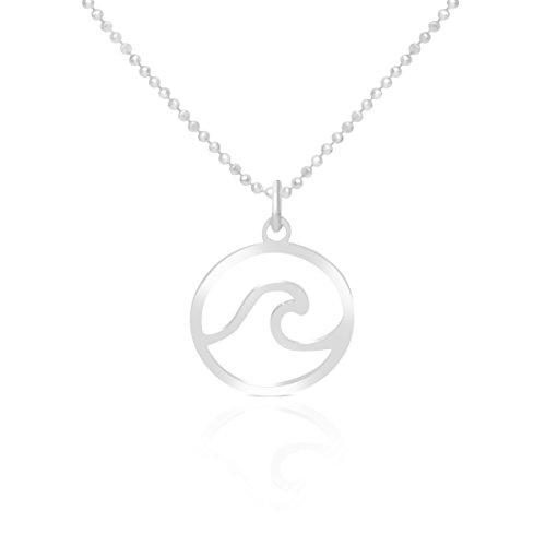 Collar Ola de Mar para Mujer Plata de Ley 925 Colgante Ola Surf Incluye Cadena de 40 cm de Largo, Sulfero