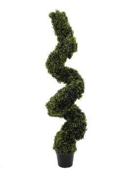 Set aus 2 x Künstlicher Buchsspiralbaum, getopft, grün, 180 cm - Buchsbaum Spirale / Künstlicher Buchs -