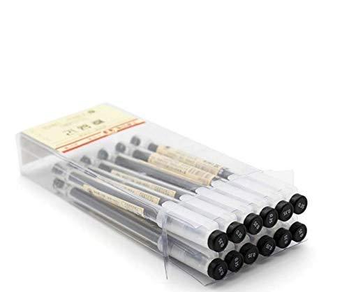 MUJI - 12 bolígrafos de bola con tinta de gel, punta Extra Fino de 0,35 mm (Negro)