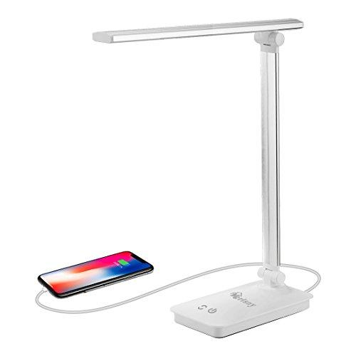 Merisny Licht LED Schreibtischlampe 5W Schreibtischleuchte led Tageslichtlampe Augenschutz 3 Helligkeitsstufen Lampenarm einstellbar mit USB-Anschluss und 5 Farbtemperaturen