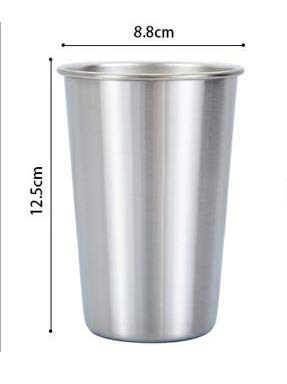 HSXOT Color Cup Stainless Steel Coffee Mug Straw Metal Reusable Outdoor Camping Travel Mug Drinking Juice Tea Beer Jug Silver