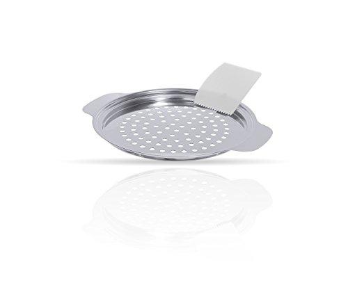 Kerafactum® - Spätzehobel Spätzlesieb Topf Aufsatz Spätzle Sieb hochglänzend aus Edelstahl Lochdurchmesser 5 mm mit GRATIS Kunststoffspachtel geeignet für Topfdurchmesser von Ø 24 cm bis 28 cm