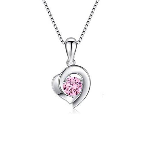 Ybls collana collana - ciondolo in argento sterling s925 femmina semplice invia fidanzata san valentino gioielli regalo catena clavicola doppia a forma di cuore (colore : pink diamond)