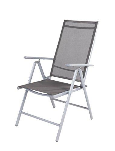 Linder-Exclusiv Fauteuil Pliant 7 Positions avec Cadre en Aluminium et revêtement Textile 54 x 64 x 106 cm – Gris foncé/Anthracite