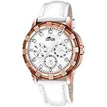 Lotus Sara Carbonero - Reloj señora acero y cuero, color rosé y blanco
