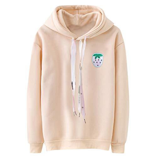 LSAltd Winter-Frauen-süßer Frucht-Druck-Süßigkeit-Farbe Plus Größen-mit Kapuze Sweatshirt-Bluse beiläufige einfache Bequeme Lange Hülsen-Pullover-Oberseiten