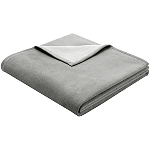 Biederlack Bocasa - Manta (algodón, 150 x 200 cm), color gris