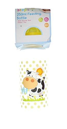 First Steps 250ml Biberon Bébé avec Tétine Silicone & Couvercle Jaune – Vache