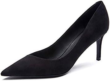 WYYY Zapatos De Mujer Tacones Scrub Bien con Boca Poco Profunda Apuntado Zapatos Casuales Negro 6.5 Cm (Tamaño...