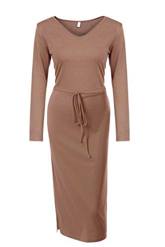 Zearo Damen Elegantes Abendkleid Schmales V-Ausschnitt lang Kleider Bare rosa