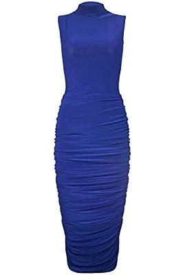 Fashion Star Womens Polo High Neck Midi Ruched Bodycon Dress
