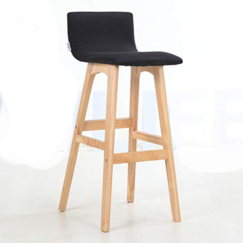 Lrzs-furniture schienale in legno massello sedia da bar sedia da bar sedia da bar sgabello da bar sgabello da bar semplice seggiolone per famiglie (colore : nero)