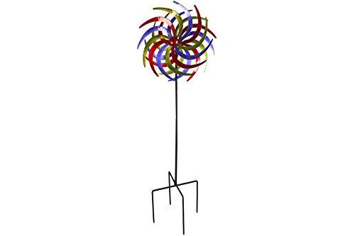 Unbekannt Doppel Windrad 60cm aus Metall Tricolor rot blau grün Beet G | Garten > Dekoration > Windräder | Metall | Unbekannt