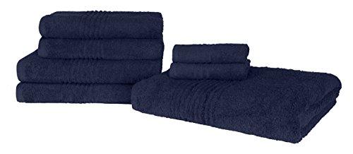 Highams Luxuriöse 100% ägyptische Baumwolle 7Stück Handtuch Bale 550gsm Marineblau (Egyptian Cotton Bath Sheet)