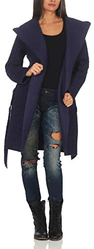Malito Damen Wollmantel kurz | Boucle Wool | Trenchcoat mit Kapuze | weicher Dufflecoat | Parka - Jacke 9320 (dunkelblau) -