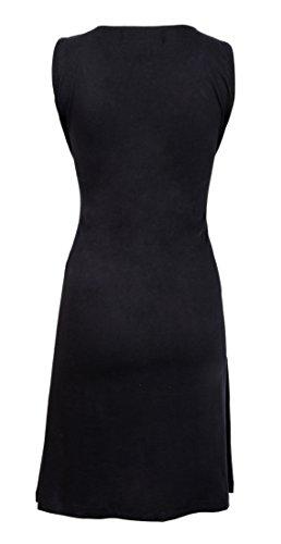 Robe de soirée sans manches Ladies avec motif multicolore et Patch Noir