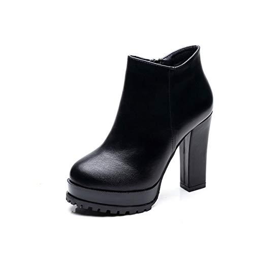 0b2453c0 LBTSQ-Zapatos De Tacon Alto Grueso Tacon Martin Botas Impermeables  Plataforma 11Cm Fondo Grueso Terciopelo De Moda Fashion Medio