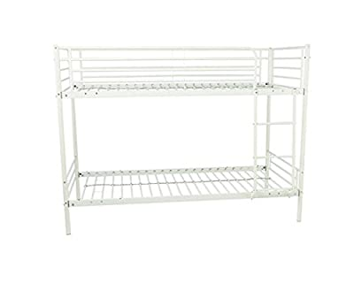 Mika Shorty Bunk Bed Frame - White 2ft6 Bed Children's Twin Metal Bunkbed - cheap UK light store.