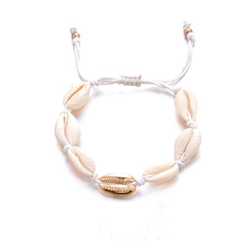 DAGE&NN Natürliche Muschel Shell Armbänder Für Frauen Fußkettchen Armband In Der Perlenkette Fuß Knöchel Strand Schmuck Fußkettchen Armband Für Knöchel Armband @ D_17 + 13Cm -