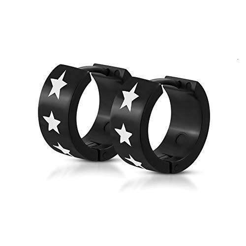 BlackAmazement 2er Set Paar Kunststoff Klapp Creolen Sterne Stars schwarz weiß 7mm breit Herren Damen (White Gold-huggies-ohrringe)