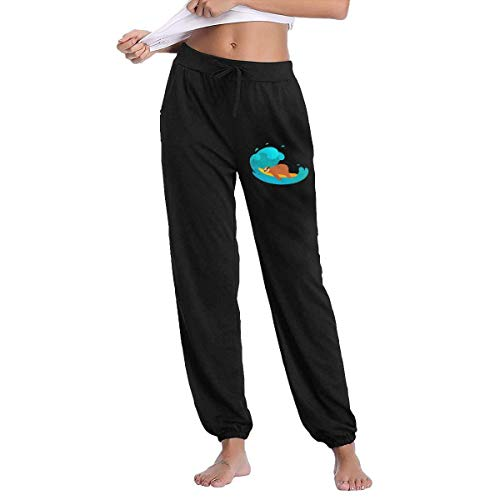 QIAOJIE Yogahosen für Damen Lazy Sloth Surfing Board Joggers Pants for Womens Athletic Sweatpants Gym Workout with Pockets -