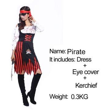 FHSIANN Halloween-Kostüm Maskerade cos Karibik Piraten der Karibik weiblichen Piraten Bloody weiblichen Erwachsenen Bühnenkostüme (Piraten Der Karibik Weibliche Kostüm)