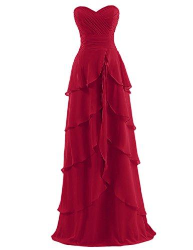 Dresstells Damen Ballkleider Glamouröses Shirtkleid mit Volants DT100090  Dunkelrot