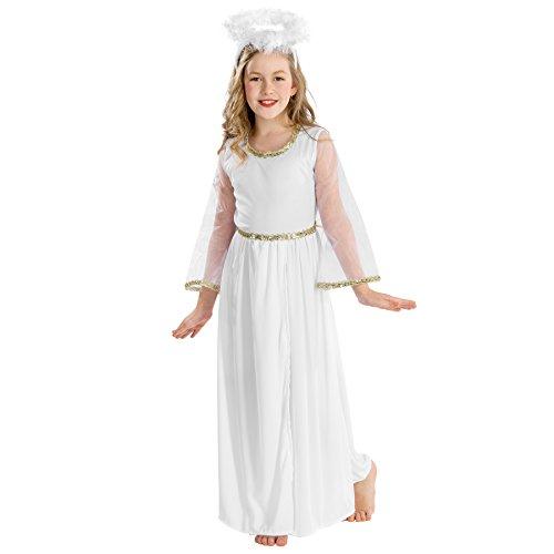 Engel Kind Mit Kostüm Heiligenschein - TecTake Mädchenkostüm Zauberhafter Engel | Kleid in Wickeloptik | Heiligenschein und schöne Federn (12-14 Jahre | Nr. 300225)