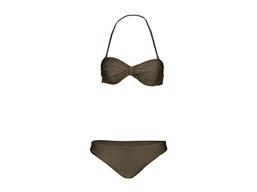 Esmara Damen Bandeau Bikni Strandbikini Triangel Bikini Bikinioberteil Bikiniunterteil (M 40/42, Khaki) (Lycra Triangel Top Bademode)