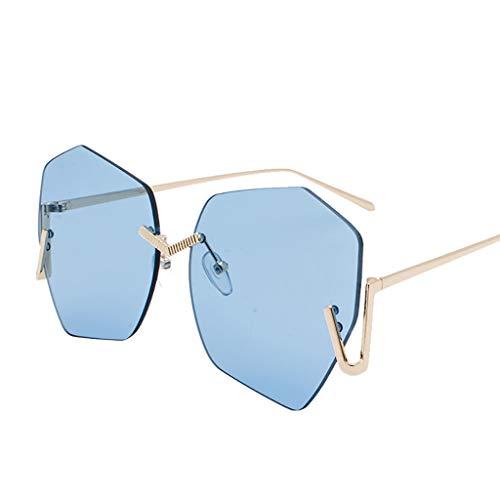 KItipeng Unisex Vintage Sonnenbrillen Retro Metallrahmen Eyewear Mode Diamant Farbige Linse Strahlenschutz Ultraleicht Brillen UV400 Polarisierte Rahmenlos Brillen