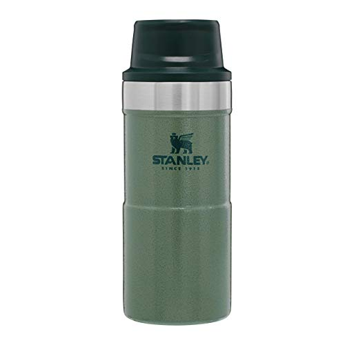Stanley Legendary Classic Vakuum-Thermobecher Kaffeebecher to go 0.35L, Hammertone Green, 18/8 Edelstahl, Doppelwandige Vakuumisolierung, Auslaufsicher, für PKW-Getränkehalter, Coffee to go Becher