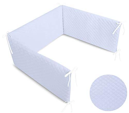 Callyna® - Tour de lit Velvet déhoussable douceur extrême, tissu haut de gamme, 100% Union Européenne. Bleu. 180 cm