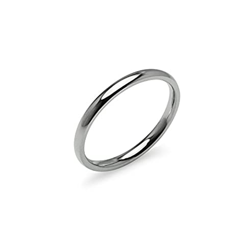 Silver Tone High Polish 2mm Plain Comfort Fit Wedding Band Ring Stainless Steel, Size 6