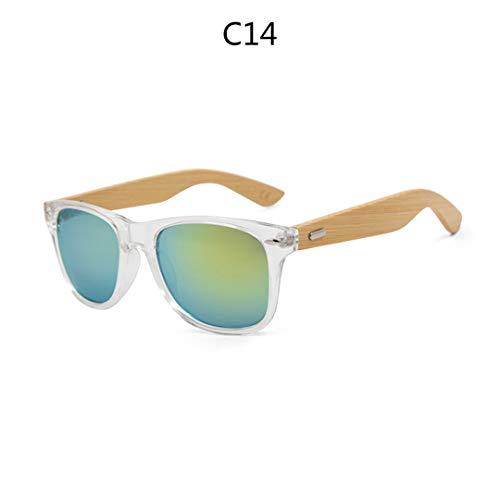 DAIYSNAFDN Retro Holz Sonnenbrille Männer Bambus Sonnenbrille Frauen Sportbrillen Gold Spiegel Sonnenbrille C14