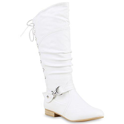 Klassische Stiefel Damen Nieten Schnallen Lederoptik Weiß