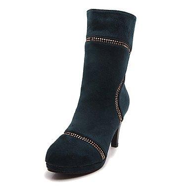Les bottes pour l'hiver robe en simili cuir Gladiateur Talon décontracté fermeture Éclair Strass Blue