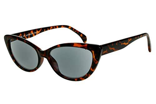 Lesesonnenbrillen mit Dioptrien für Damen Cateye Katzenaugendesign mit Etui braun schwarz transparent glänzend Kunststoff 1.0 1.5 2.0 2.5 3.0 3.5, Dioptrien:Dioptrien 2.0