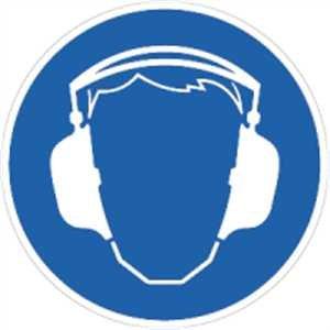 Aufkleber Gehörschutz benutzen gem. ASR !.3/ BGV A8, Folie seblstkl. 20cm Ø Folie (Arbeitsschutz, Schutzausrüstung, Gebotsschild) praxisbewährt, wetterfest