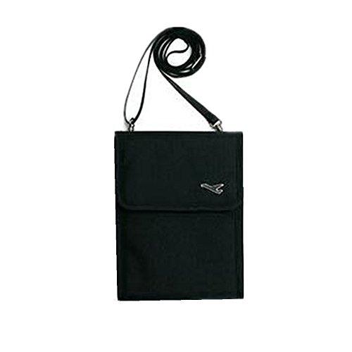 Mini-Umhängetasche / Handtasche, wasserdicht, klein, mehrere Taschen für Mobiltelefon, Portmonee, Karten und Reisepass, Textil, schwarz, S - Mehrere Karten Taschen