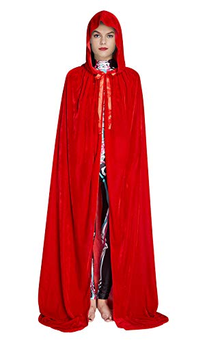 Fanient Unisex Reversible Hooded Cloak Cape für Weihnachten Halloween Party Vampires Cosplay - Reversible Samt Kostüm