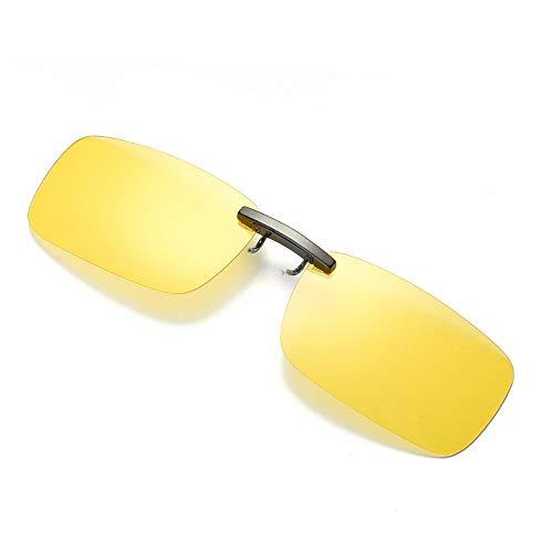 Dorical Unisex Brille, Damen Herren Abnehmbare Nachtsicht-Objektiv Fahren Metall polarisierte Klipp auf-Glas-Sonnenbrille Sale(Gelb)